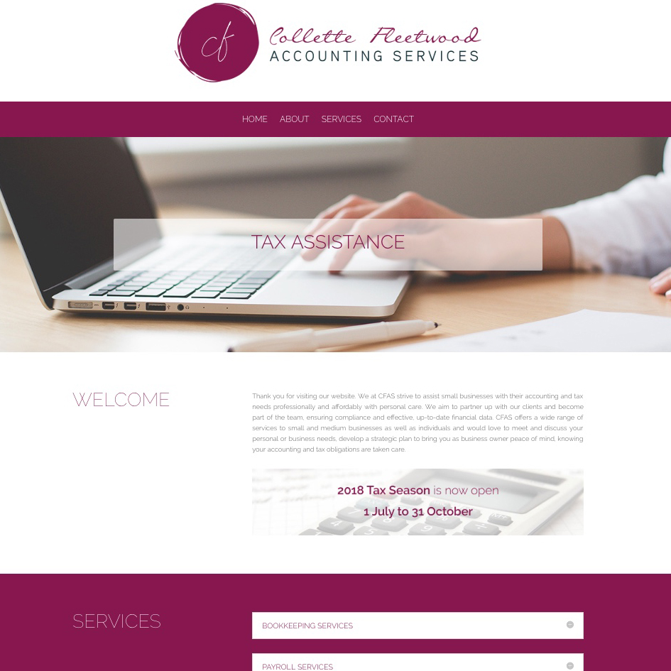 Collette Fleetwood Accounting Services Website (www.cfas.co.za)